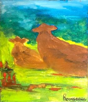La vache et son veau...pour les deux ans d'Henri!