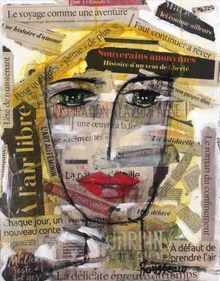 Le roman du confinement! collage et acrylique sur toile. 16'' x 20''ou 41cm x 51cm