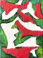 Les sens dessus dessous du milieu culturel et autres milieux itou! Collage de dentelles et acrylique sur toile 12'' x 16'' ou 31cm x 41cm