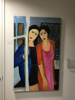 """""""2 femmes à la fenêtre"""", Acrylique 32"""" x 51"""""""